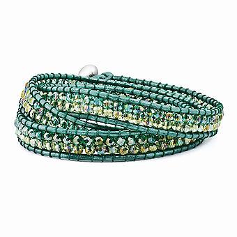 Multi verde Aurora Borealis cristal cuero moldeado multi-wrap pulsera