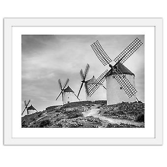 Picture In White Frame, Dutch Windmills
