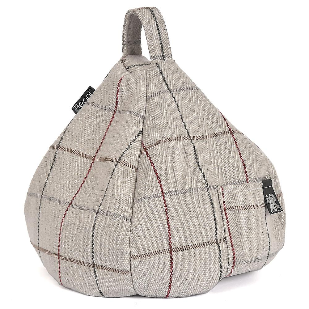 iBeani iPad, Tablet & eReader Bean Bag Stand / Cushion - Grey Check