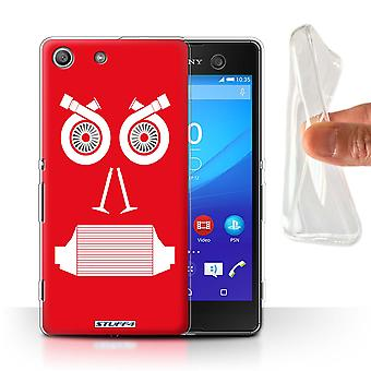 STUFF4 Gel/TPU Case/Cover for Sony Xperia M5/Turbo/Red/Car Part Faces