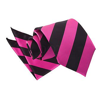 Men's Striped Hot Pink & Black Tie 2 pc. Set