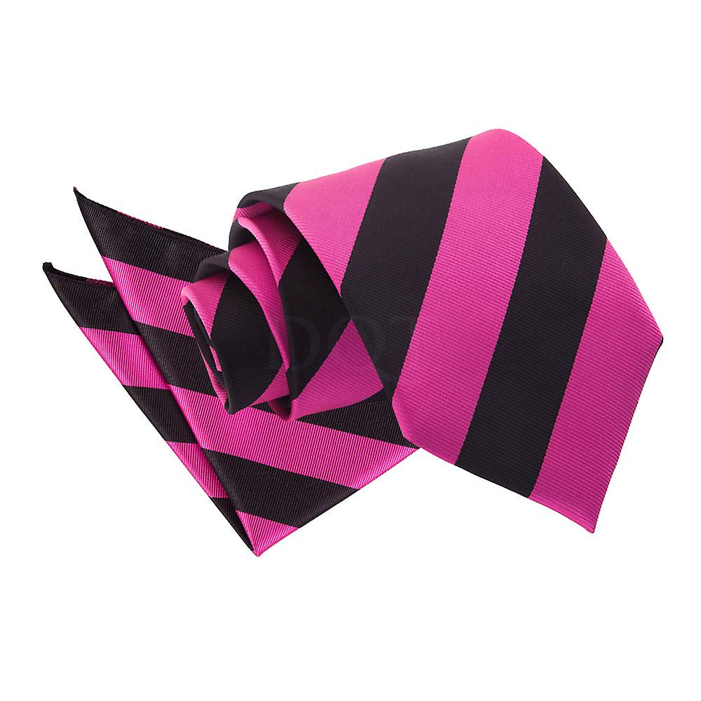 Striped Hot Pink & Black Tie 2 pc. Set