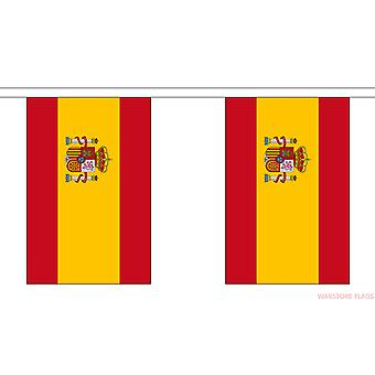 SPAIN SPANISH NATIONAL BUNTING WITH CREST 3M 10 FLAGS RUGBY FOOTBALL FANS