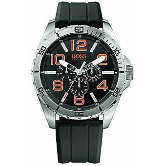 Hugo Boss oransje Mens rustfritt stål sort gummi rem Multi ekstern 1512945 Watch