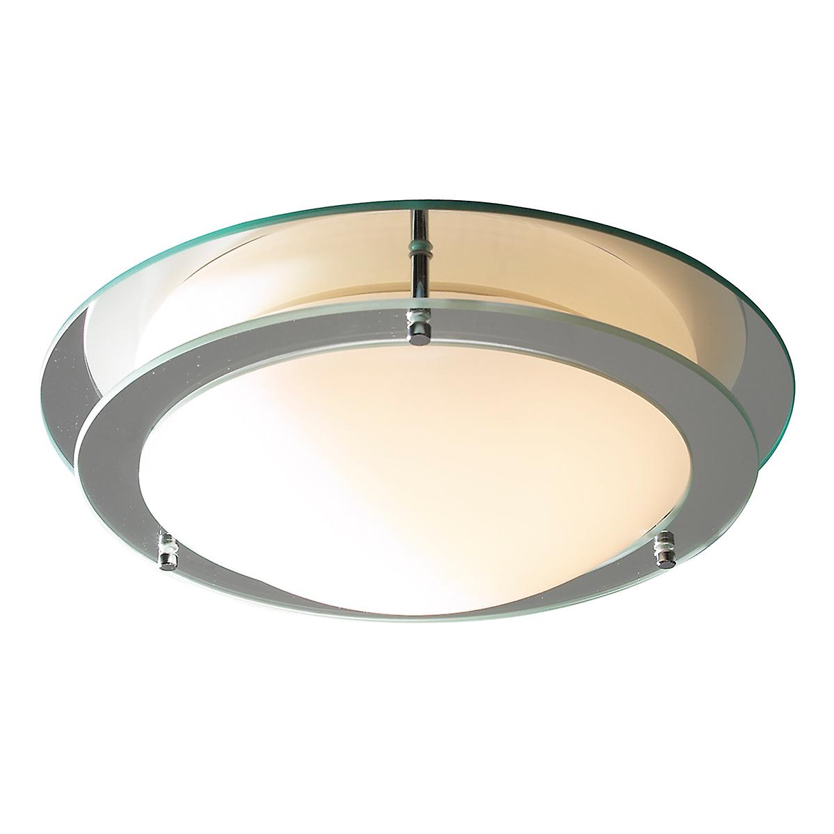 Dar LIB50 Libra Bathroom Flush Ceiling Light With Opal Glass