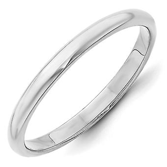 14k White Gold 2.5mm Half Round Band Ring - Ring Size: 4 to 14