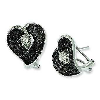 Sterling Silver and Cubic Zirconia Brilliant Embers Heart Post Earrings