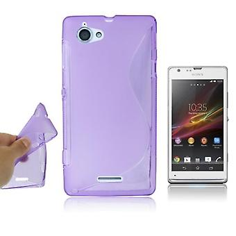 Cell phone cover silicone case (S-curve) for mobile phone Sony Xperia L S36h C210X purple