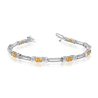 10k White Gold Natural Citrine And Diamond Tennis Bracelet
