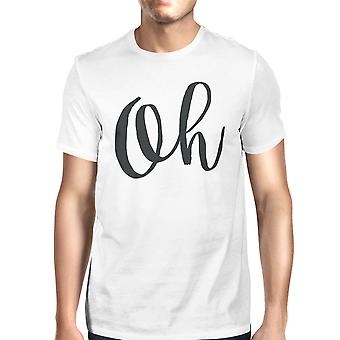 Oh Unisex White T-shirt Cute Short Sleeve Typographic T-shirt