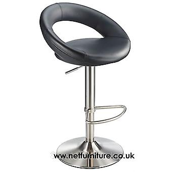 Lunar Kitchen Bar Stool Brushed Stainless Steel Moon Padded Seat