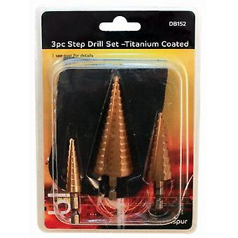 3 Piece Step Drill Set Black Gold Titanium Coated DIY Fixing Fitting Assembly