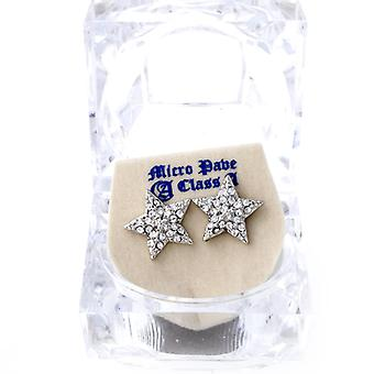 Iced out bling earrings box - HOT STAR silver