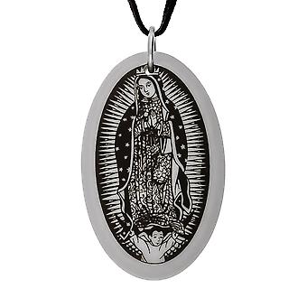 Handmade Our Lady of Guadalupe Oval Porcelain Pendant