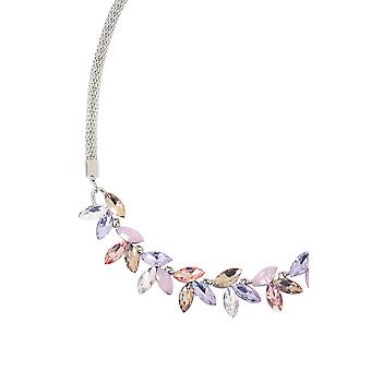 Silver Necklace With Pastel Diamante Finish