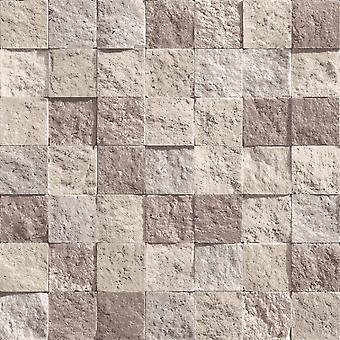 Slate Stone Brick Effect Wallpaper Vinyl Weathered Beige Direct Wallpapers