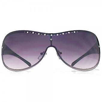 Glare Eyewear Megan Diamante Visor Sunglasses In Black
