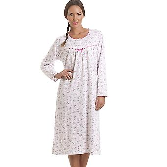 Camille Classic Pink Floral Long Sleeve Cotton Nightdress