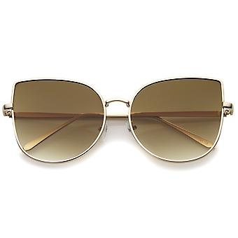 Women's Oversize Slim Metal Frame Gradient Flat Lens Cat Eye Sunglasses 58mm