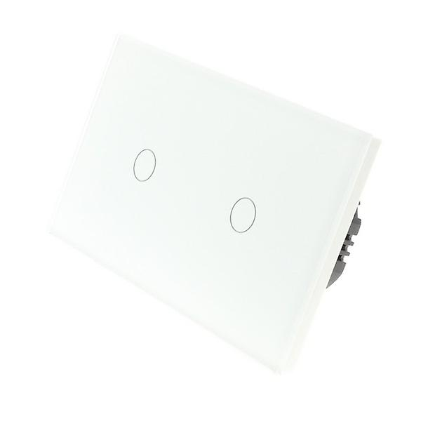 I LumoS White Glass Double Panel 2 Gang 1 Way Touch LED Light Switch
