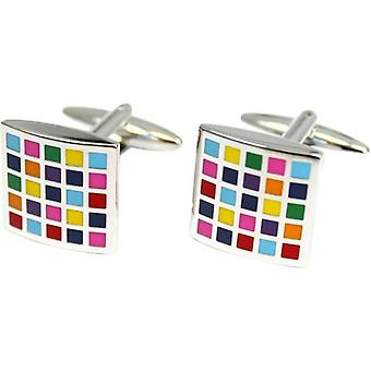 Posh and Dandy Box Pattern Enamelled Cufflinks - Multi-colour/Silver