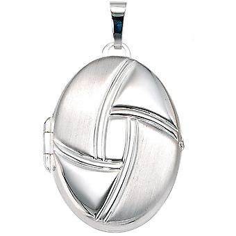 Medallion mat oval 925 sterling silver pendants to open