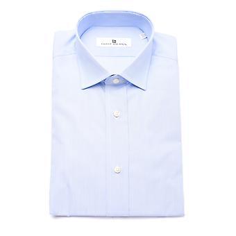 Pierre Balmain Men Slim Fit Cotton Dress Shirt Light Blue White Micro-Stripes