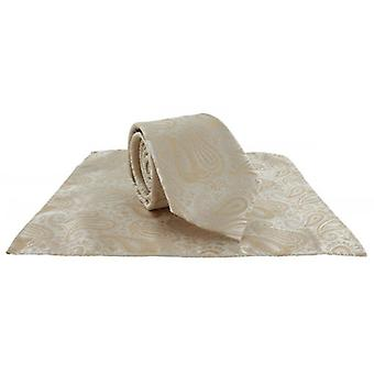 Michelsons of London Tonal Polyester Paisley Pocket Square and Tie Set - Taupe