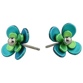 Ti2 Titanium Double Four Petal Bead Flower Stud Earrings - Green