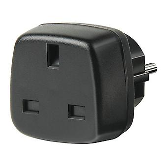 travel adaptor from the UK to the EU, grounded, child protection, 250V max 13A, black