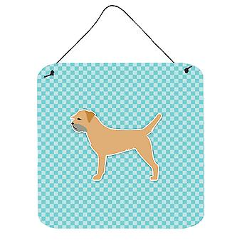 Border Terrier  Checkerboard Blue Wall or Door Hanging Prints