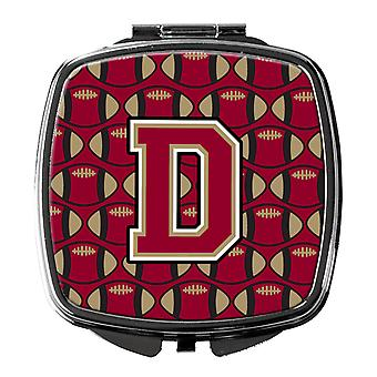 Letter D Football Garnet and Gold Compact Mirror