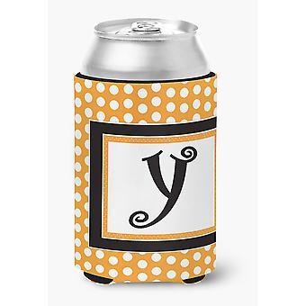 Letter Y Initial Monogram - Orange Polkadots Can or Bottle Beverage Insulator Hu