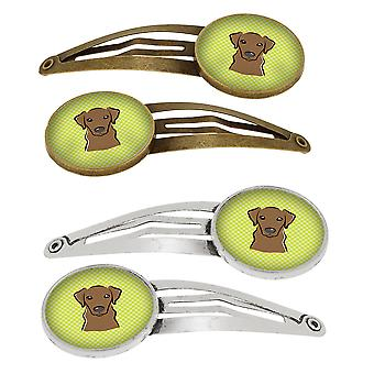 Checkerboard Lime Green Chocolate Labrador Set of 4 Barrettes Hair Clips
