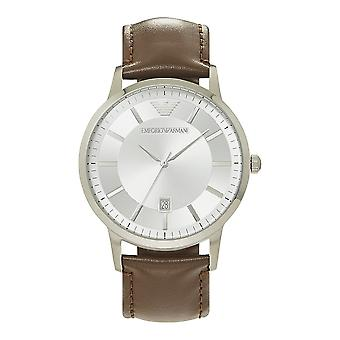 Armani Watches Ar2463 Brown Leather & Silver Dial Men's Watch