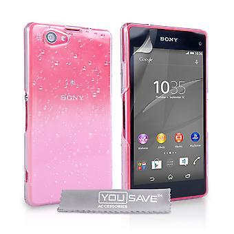 Sony Xperia Z4 kompaktowy kropla deszczu Hard Case - Baby Pink-Clear