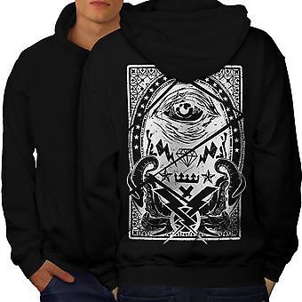 Triangle Horror Vintage Men BlackHoodie Back | Wellcoda
