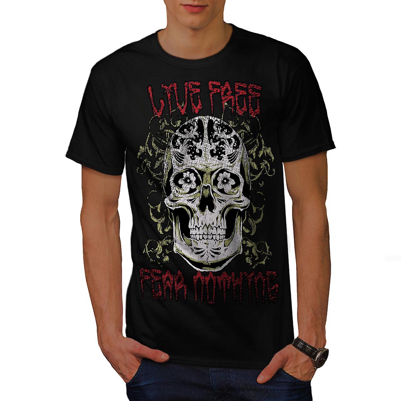 Live Fear Nothing Skull Men Black T-shirt | Wellcoda