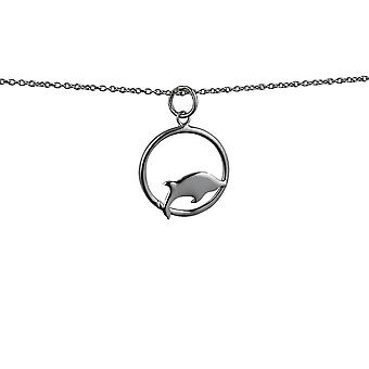 Silver 18x18mm Dolphin jumping to the right in a circle Pendant with rolo Chain 22 inches