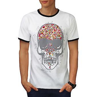 Face Head Skull Men White / BlackRinger T-shirt | Wellcoda