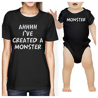 Created A Monster Mom and Baby Matching Gift T-Shirts Baby Bodysuit