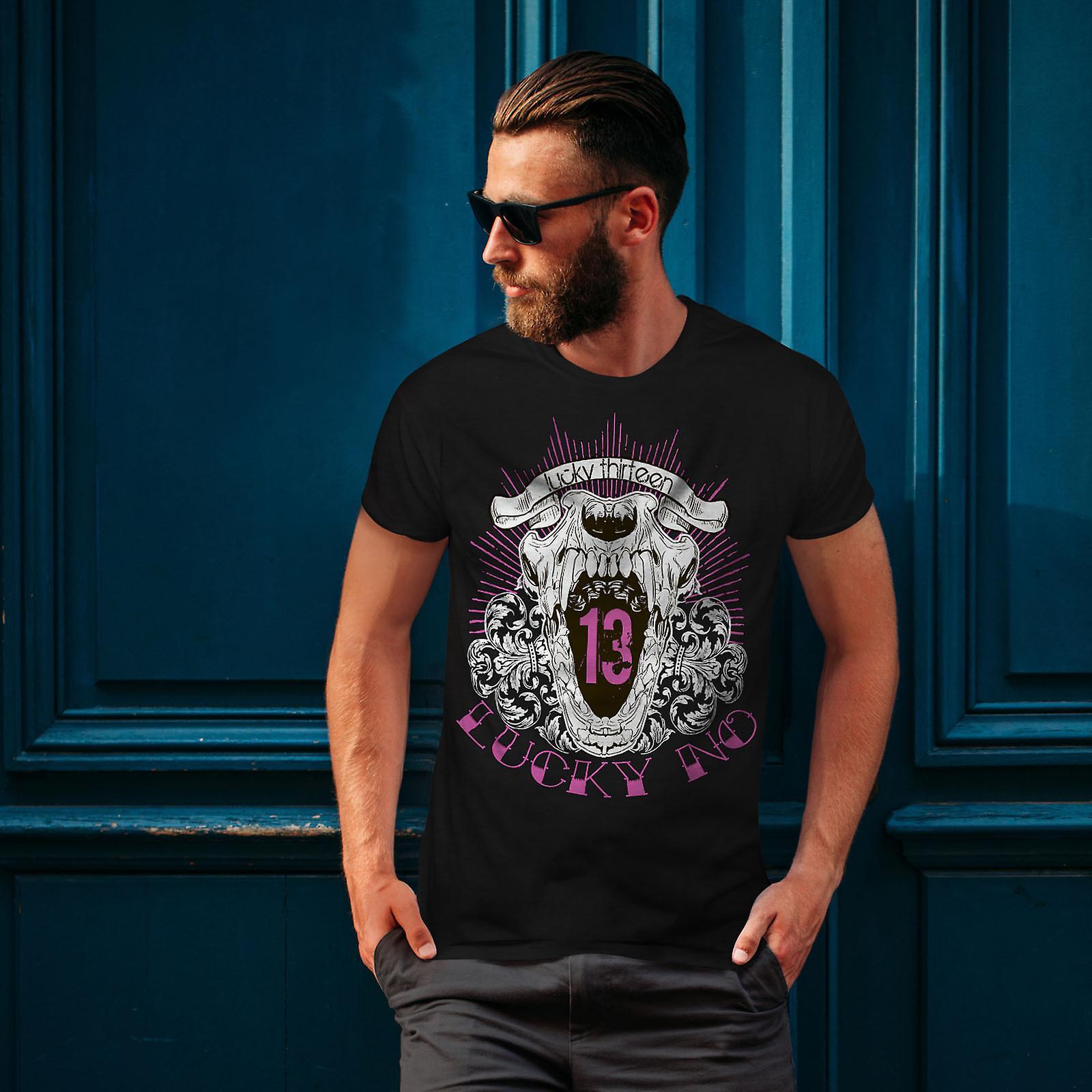 Lucky Thirteen Cool Skull Men BlackT-shirt | Wellcoda