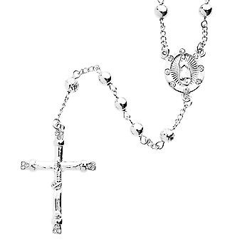 Iced out bling fashion necklace - Rosary silver
