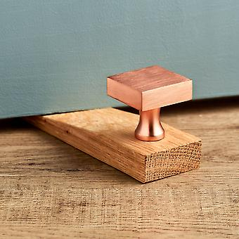Modern Brushed Brass Square Copper Oak Wedge Door Stop
