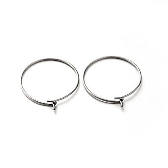 10 x Silver 304 Stainless Steel Round Wine Glass Charm Ring 20 x 23.5mm Y01580