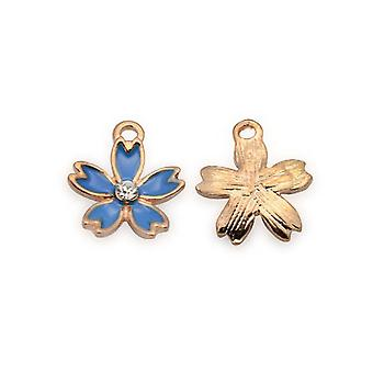 3 x Rose Gold/Dark Blue Enamel & Alloy 16 x 18mm Flower Charm/Pendant Y06075