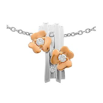 Orphelia Silver 925 Chain With Pendant Flowers And Roseplated Zirconium  ZH-6039