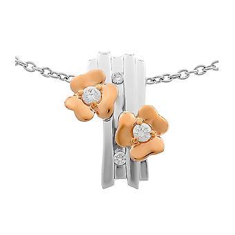 Orphelia plata 925 cadena con colgante de flores y circonio Roseplated ZH-6039