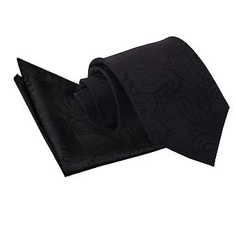 Black Paisley Tie & Pocket Square Set
