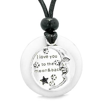 I Love You to the Moon and Back Magic Good Luck Medallion Amulet White Snowflake Quartz Necklace
